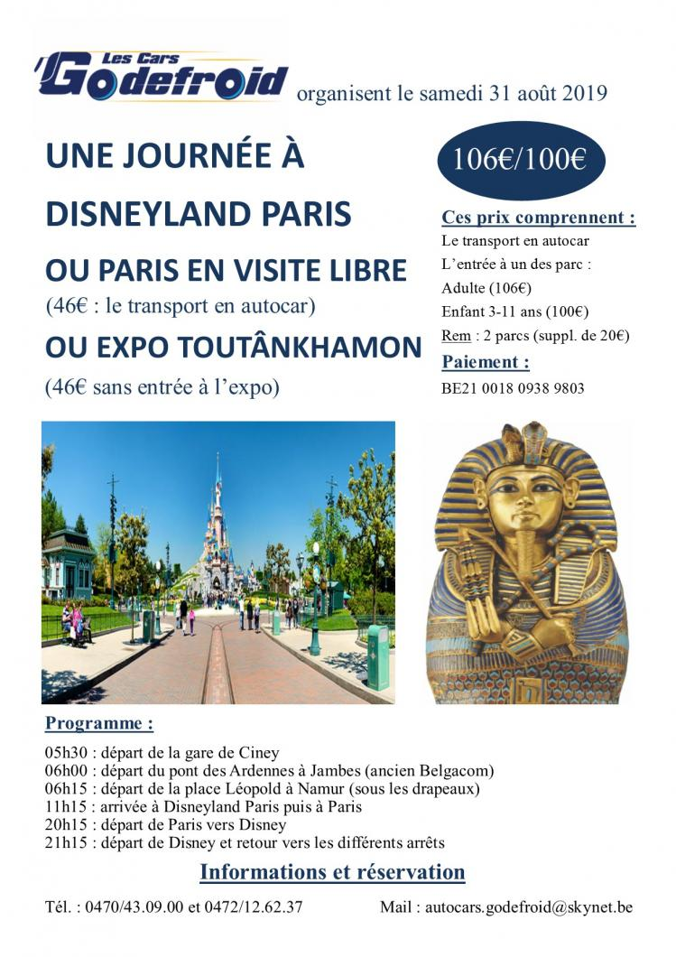 Affiche disneyland paris et expo toutankhamon et paris libre 31aout
