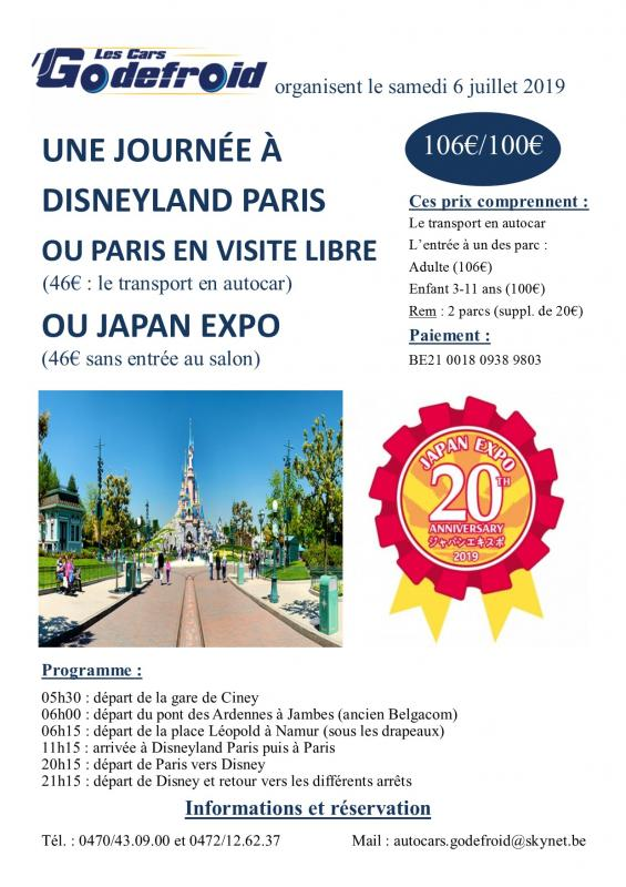 Affiche disneyland paris et japan expo et paris libre 6 juillet