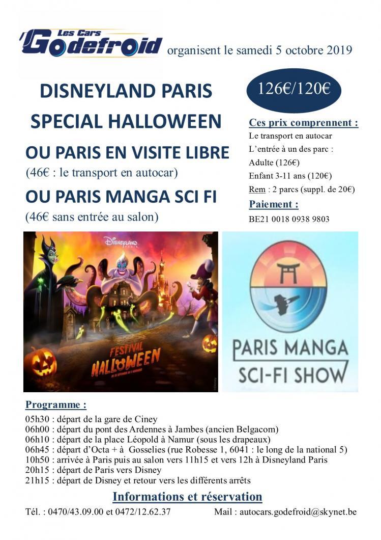 Affiche disneyland paris et paris manga et paris libre 5 octobre