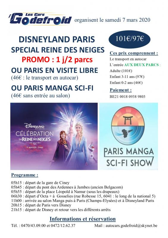 Affiche disneyland paris et paris manga et paris libre 7 mars