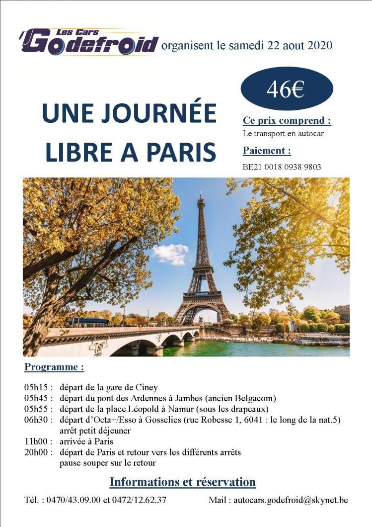 Affiche journee libre a paris 22 aout