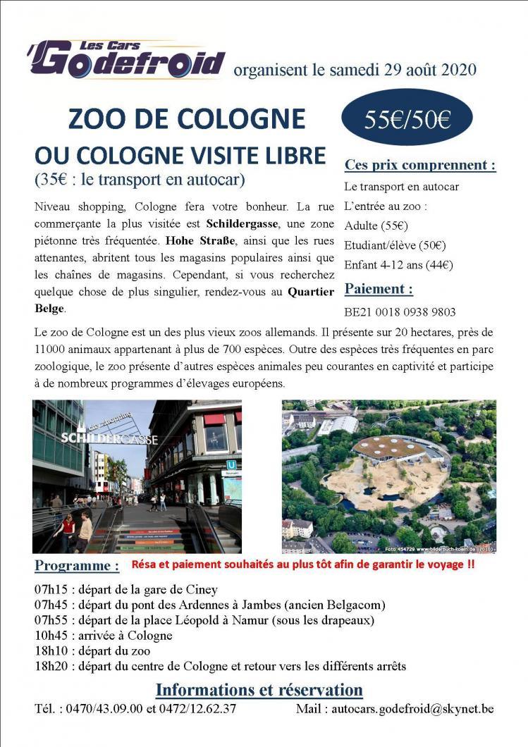 Affiche zoo de cologne et temps libre 29 aout