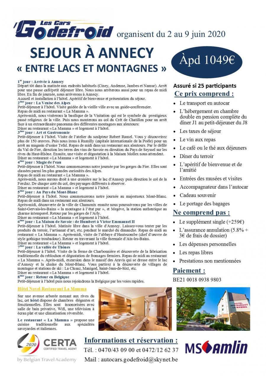 Annecy 8 jours 02 au 09 06 2021