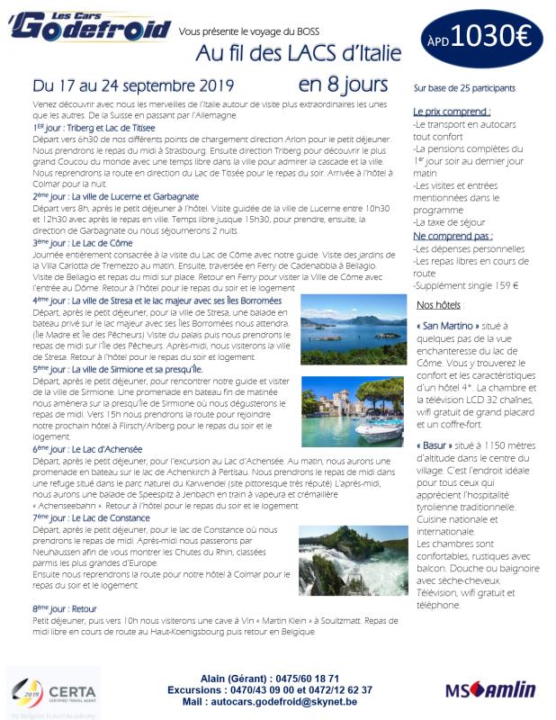 Au fil des Lacs 17 au 24 09 2019