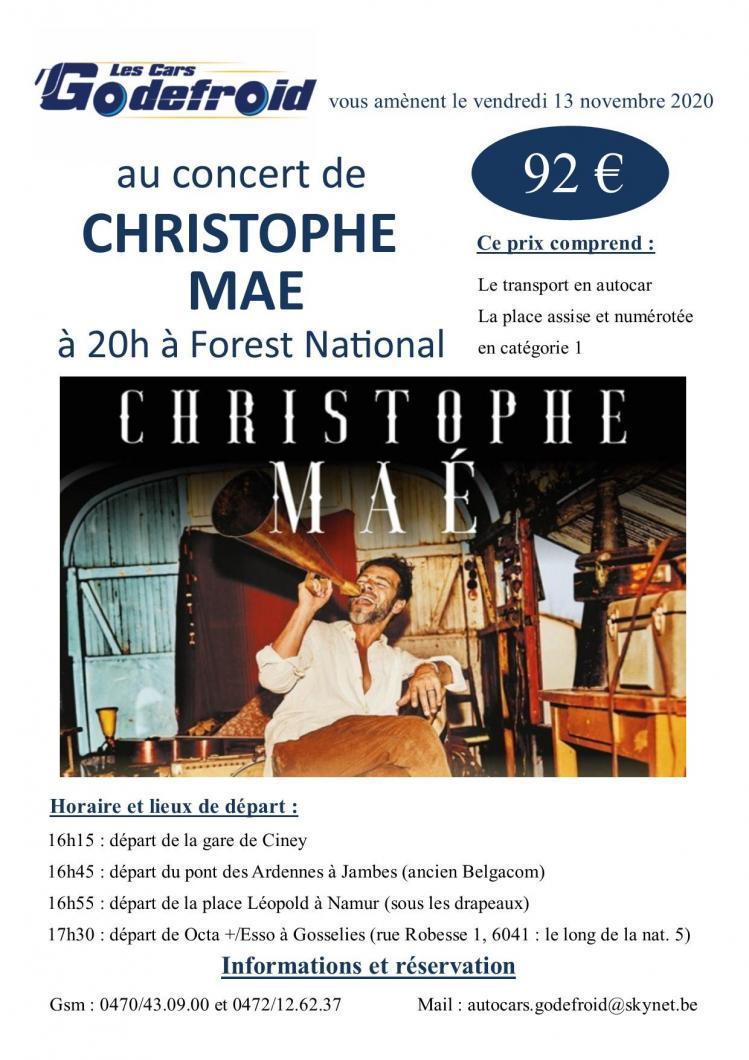 Christophe mae concert novembre 2020