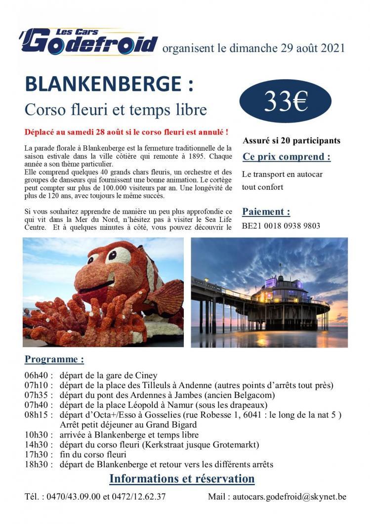 Affiche blankenberge corso fleuri 29 aout 2021