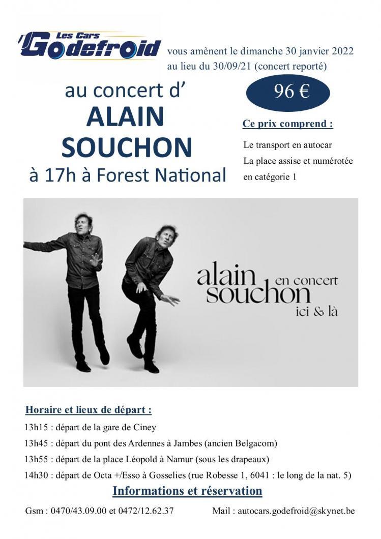 Alain souchon concert 30 janvier 2022 report du 30 septembre 2021 et 24 novembre 2020