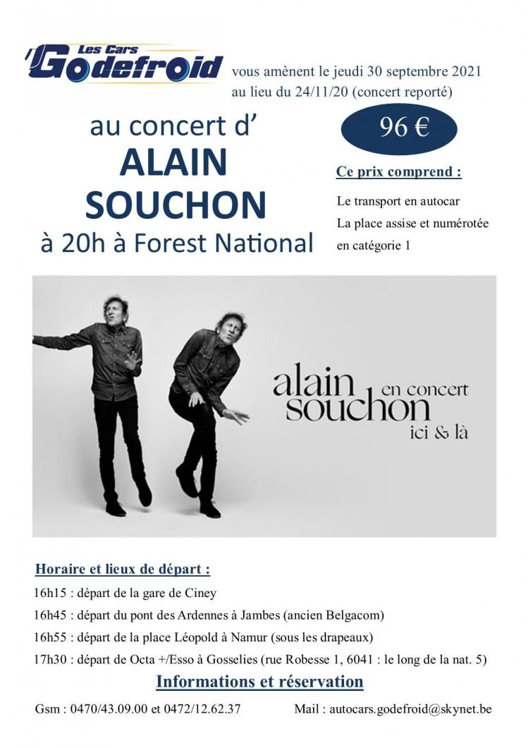 Alain souchon concert 30 septembre 2021 reporte 24 novembre 2020