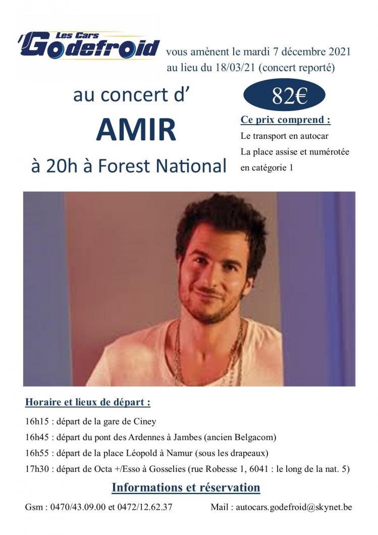 Amir concert 7 decembre report du 18 mars 2022