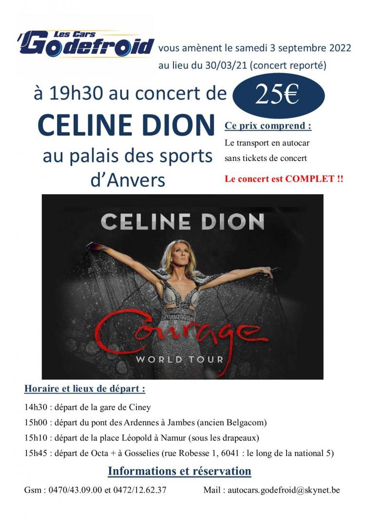 Celine dion concert 3 septembre 2022 report 30 mars 2021 et 28 mai 2020 3