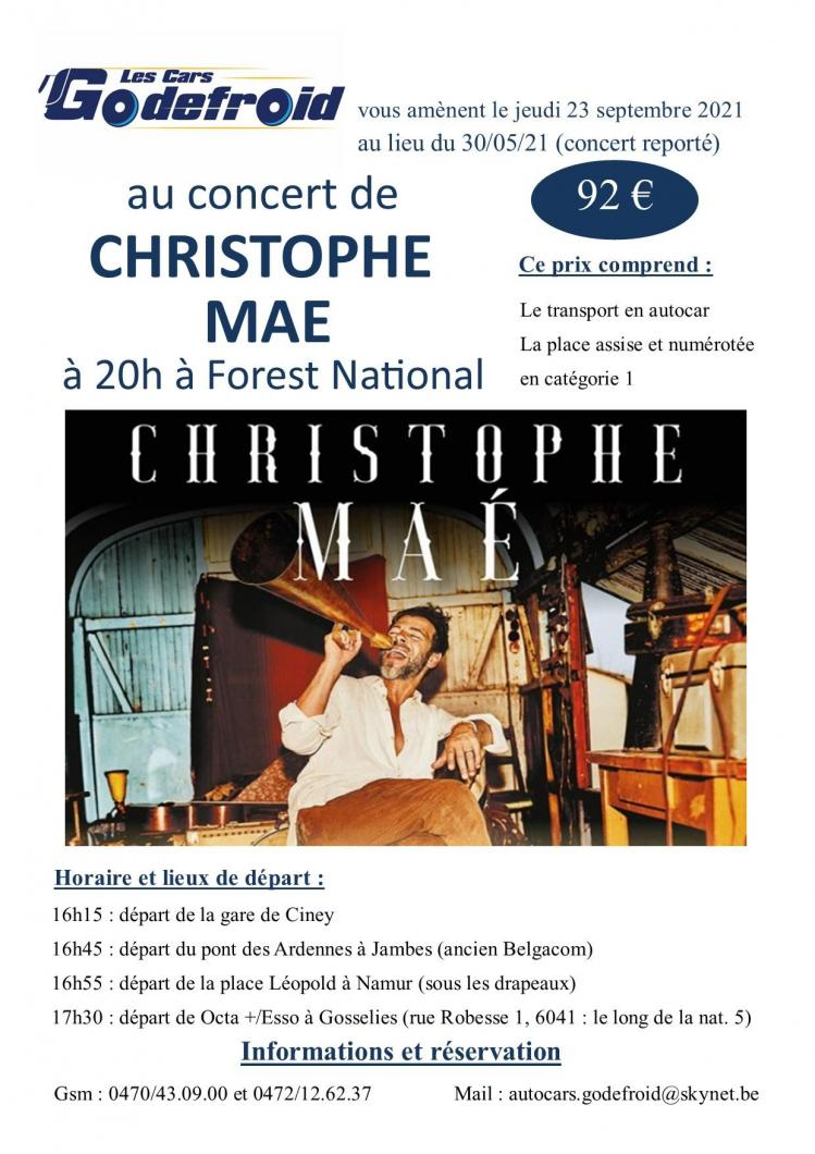 Christophe mae concert 23 septembre 2021 report du 30 mai 2021