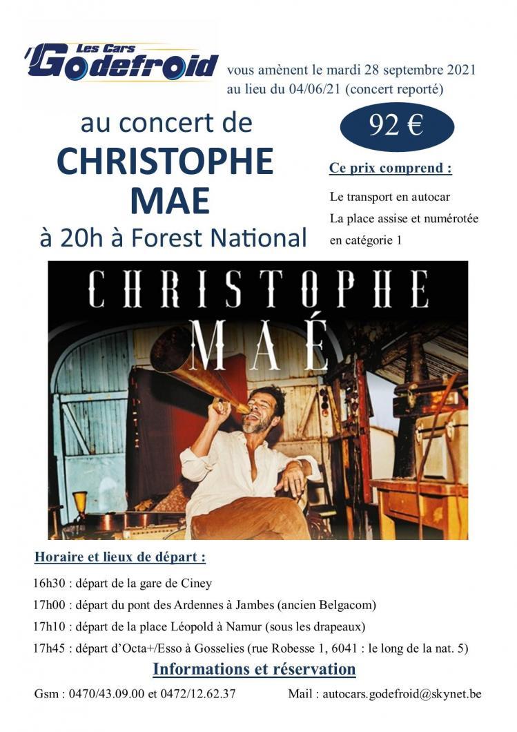 Christophe mae concert 28 septembre 2021 report du 4 juin 2021