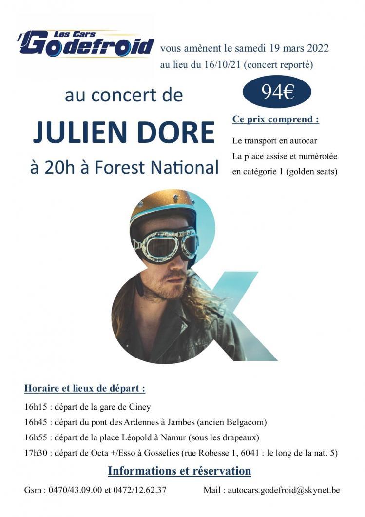 Julien dore concert 19 mars 2022 report du 16 octobre 2021