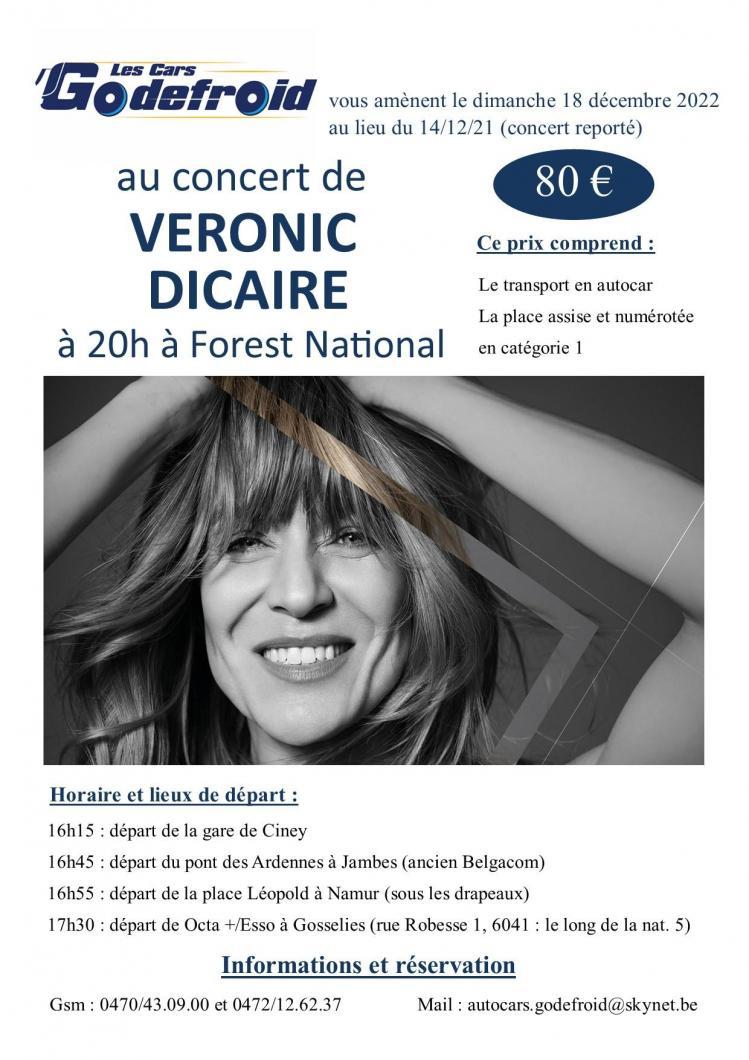 Veronic dicaire concert 18 decembre 2022 report du 14 decembre 2021