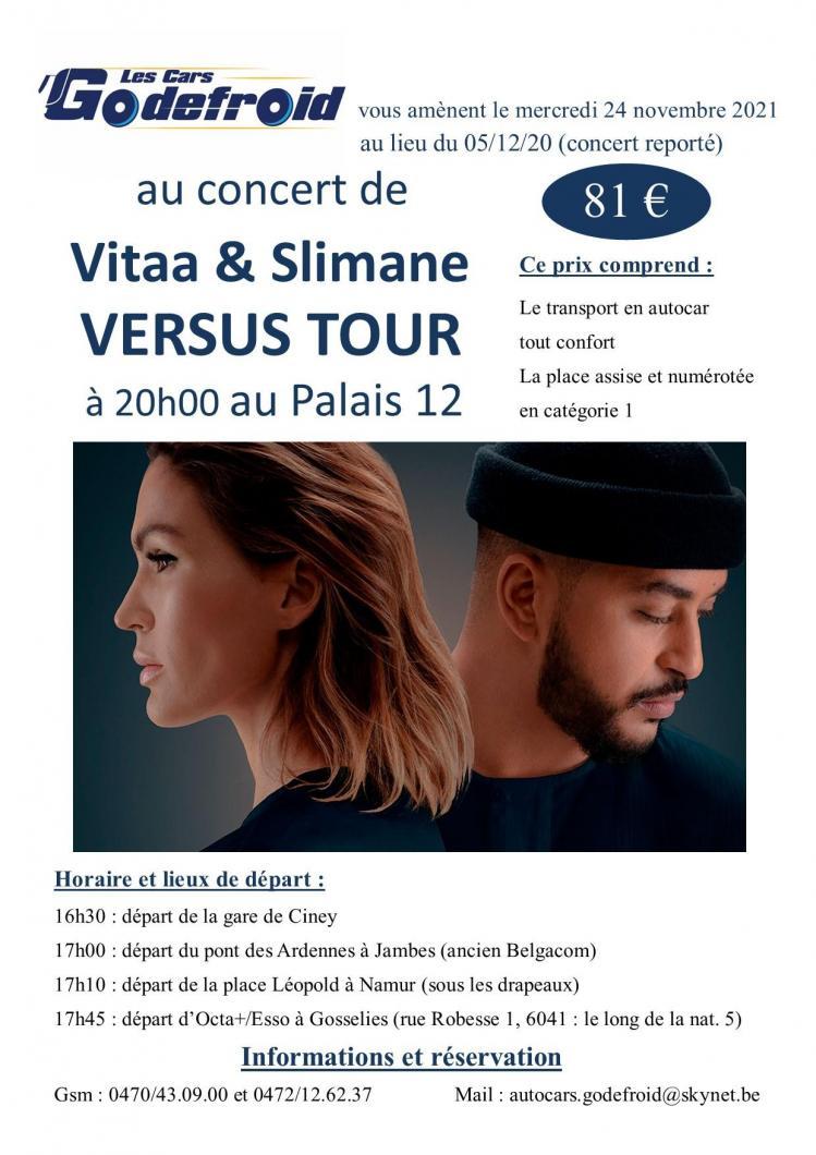 Vitaa slimane versus tour concert 24 nov 2021 report 5 dec 2020